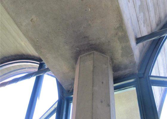 Balanstraße –(Umschnürte) Stahlbetonstützen 22/22 cm, 8-eckiger Querschnitt, Auflager der Bogenbinder mit Zugband