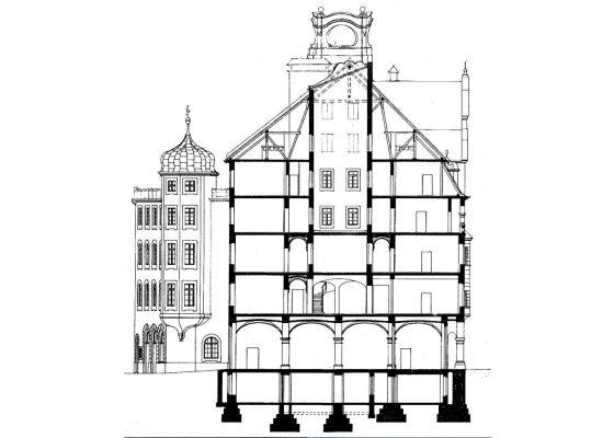 München, Feuerwache 1 –Querschnitt (Gewölbeunterdecken, Dachtragwerk)