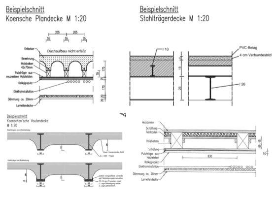 München, Feuerwache 1 –Auswahl der vorhandenen Deckentypen
