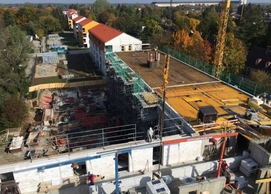 Harthof – Blick auf die Baufelder Harthof Bauteil 47 und 46 während der ingenieurtechnischen Kontrolle .