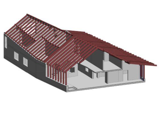 Kindergarten St. Josef der Arbeiter Rosenheim – Isometrie mit Blick in das Gebäude