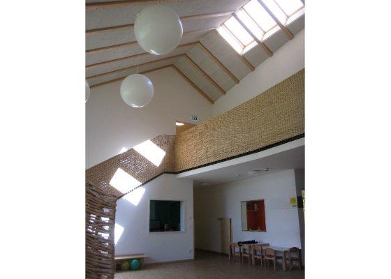 Kindergarten St. Josef der Arbeiter Rosenheim – Offene Galerie, Sparrendach mit Oberlichtern
