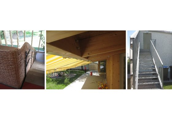 Kindergarten St. Josef der Arbeiter Rosenheim – Glasfassade mit Holzständern –Sparren auf Holzständern – Fluchttreppe