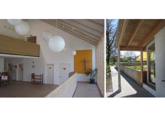 Kindergarten St. Josef der Arbeiter Rosenheim – Offene Bereiche –Hochwasserschutz im Bereich der Türen