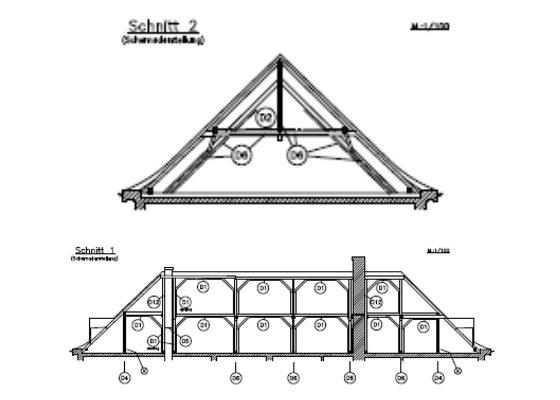 Klinikum Schwabing Bettenhaus 6 – Läng- und Querschnitt Dachkonstruktion