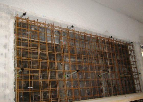 Klinikum Schwabing Haus 25 – Sicherstellung der Aussteifung durch Ausbildung von zusätzlichen Wand-scheiben zw. bestehenden Stützen.