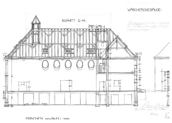 Klinikum Schwabing Haus 27 – Zeichnung Querschnitt historisch