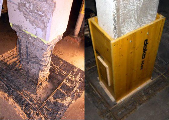 Grellstrasse Tiefgarage – Stütze nach Betonabtrag durch Höchstdruckwassertrahlen – Schalung für Betonergänzung