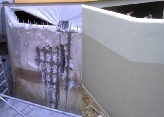 Martinsried Tiefgarage – Stützwand während und nach der Instandsetzung