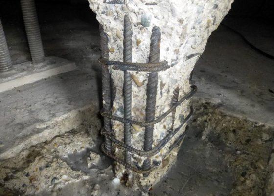 Zorneding Tiefgarage – Betonabtrag Stütze